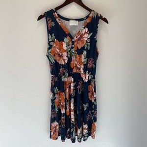 French Grey Floral Sleeveless Dress Size Small